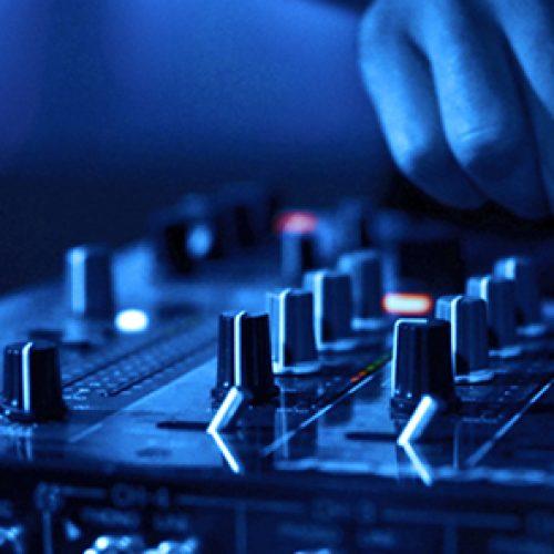 DJ pult blau